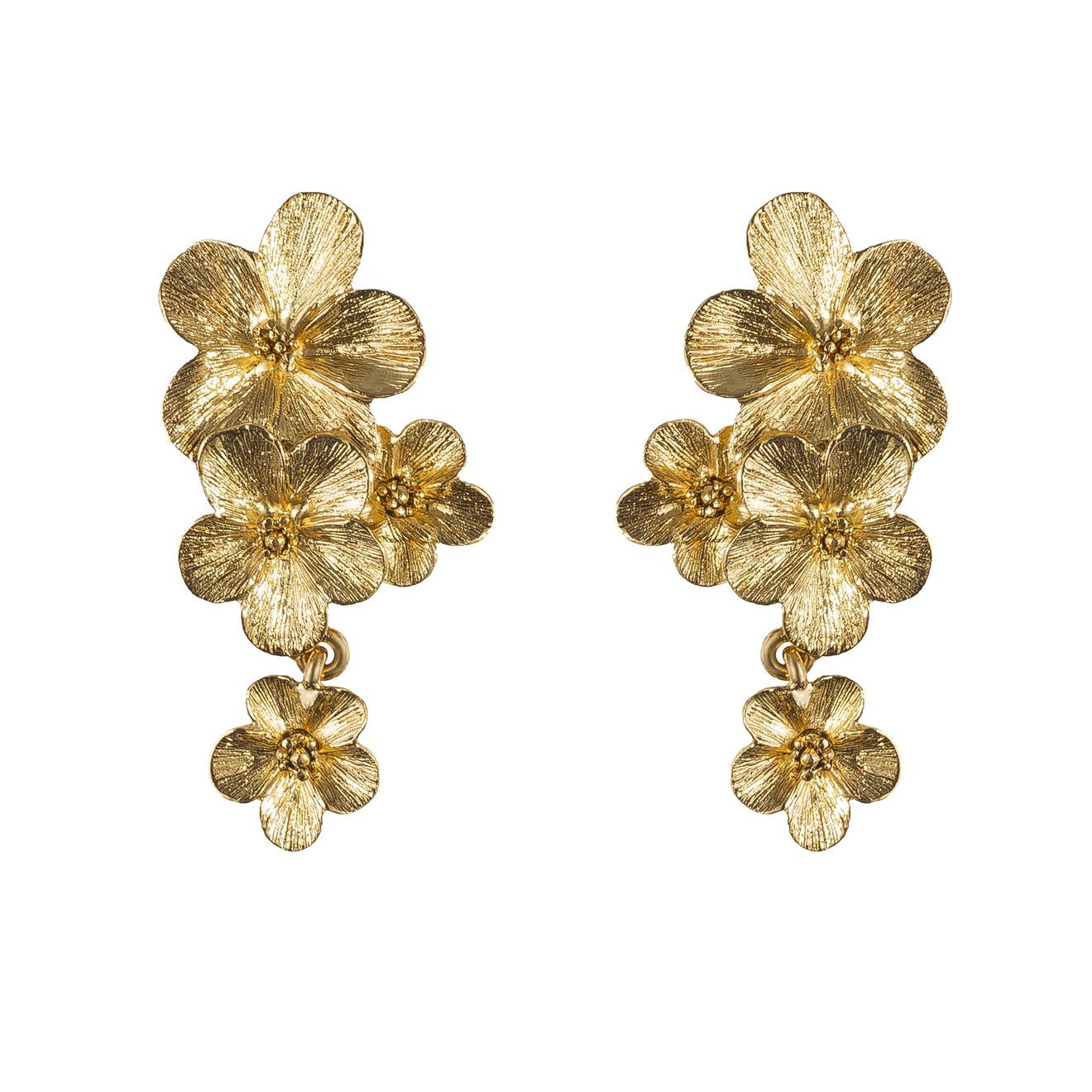 Oscar de la Renta Золотистые клипсы-цветы