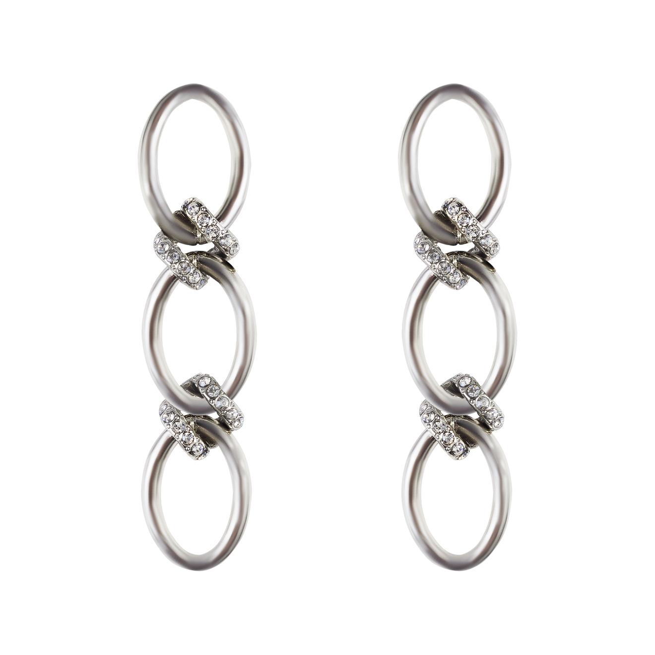 Oscar de la Renta Серебристые тройные серьги-кольца
