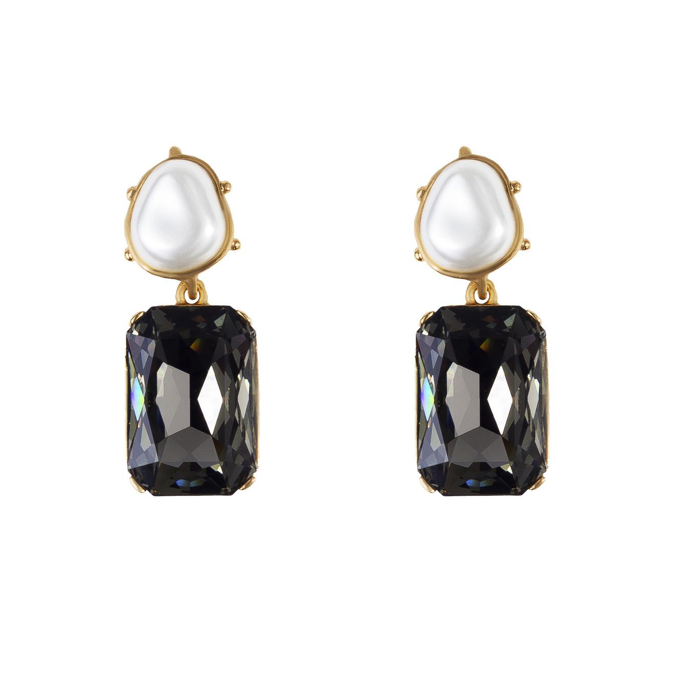 Oscar de la Renta Золотистые клипсы с черными кристаллами