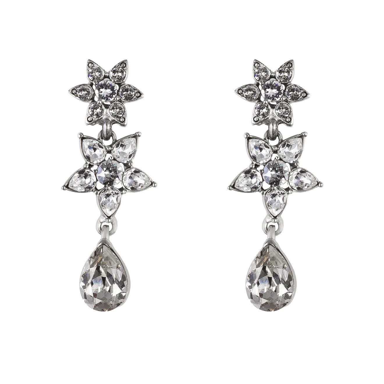 Oscar de la Renta Серебристые клипсы-цветы с кристаллами