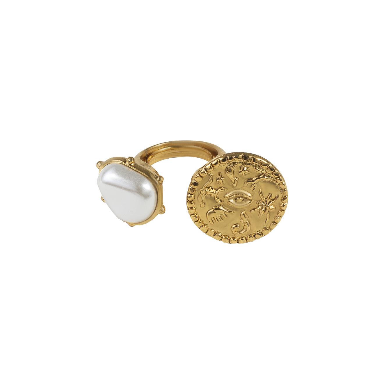Oscar de la Renta Золотистое незамкнутое кольцо с монетой и жемчугом