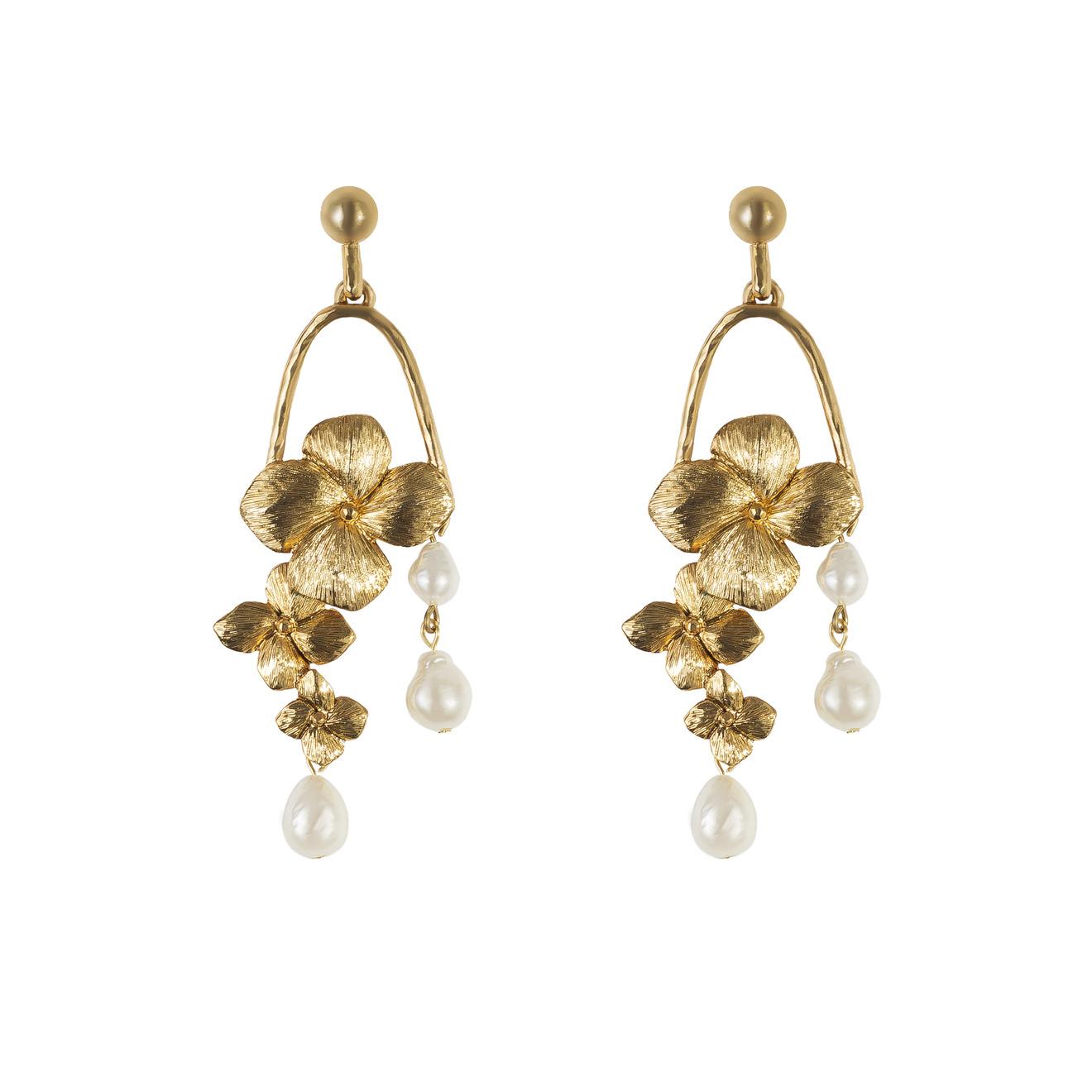 Oscar de la Renta Золотистые серьги-цветы
