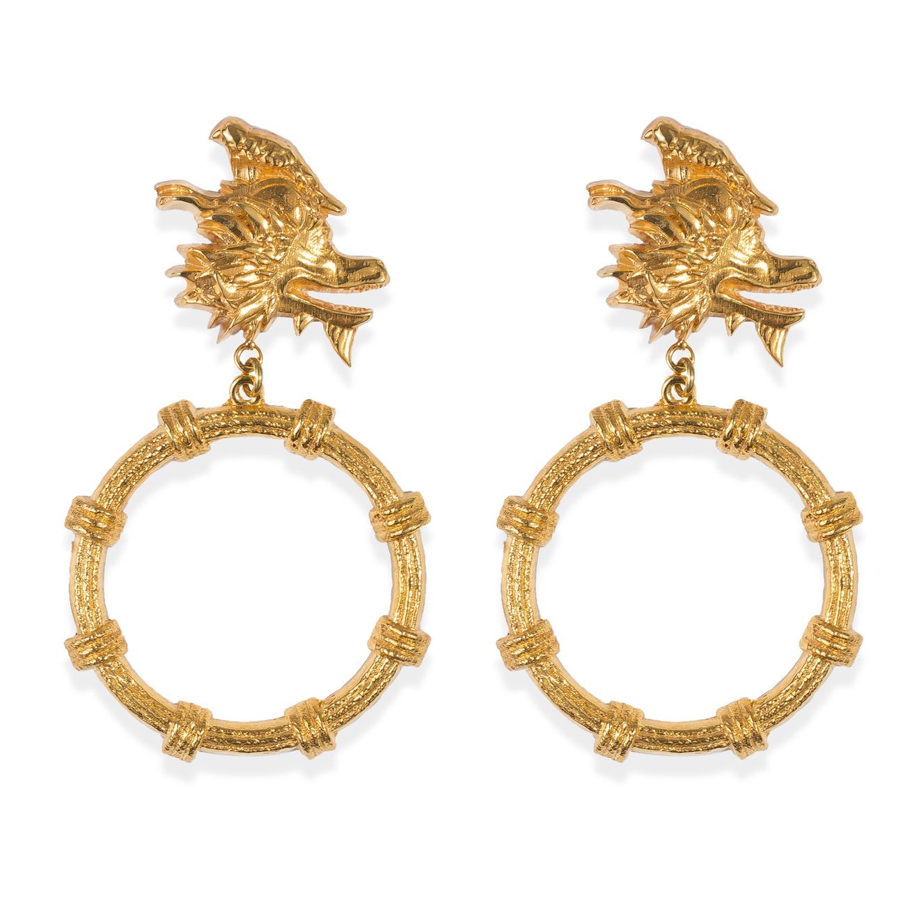Natia x Lako Позолоченные серьги-китайские драконы c птицей и подвесками-кольцами