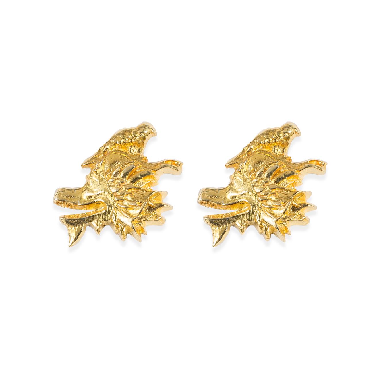 Natia x Lako Позолоченные серьги-китайские драконы с птицей