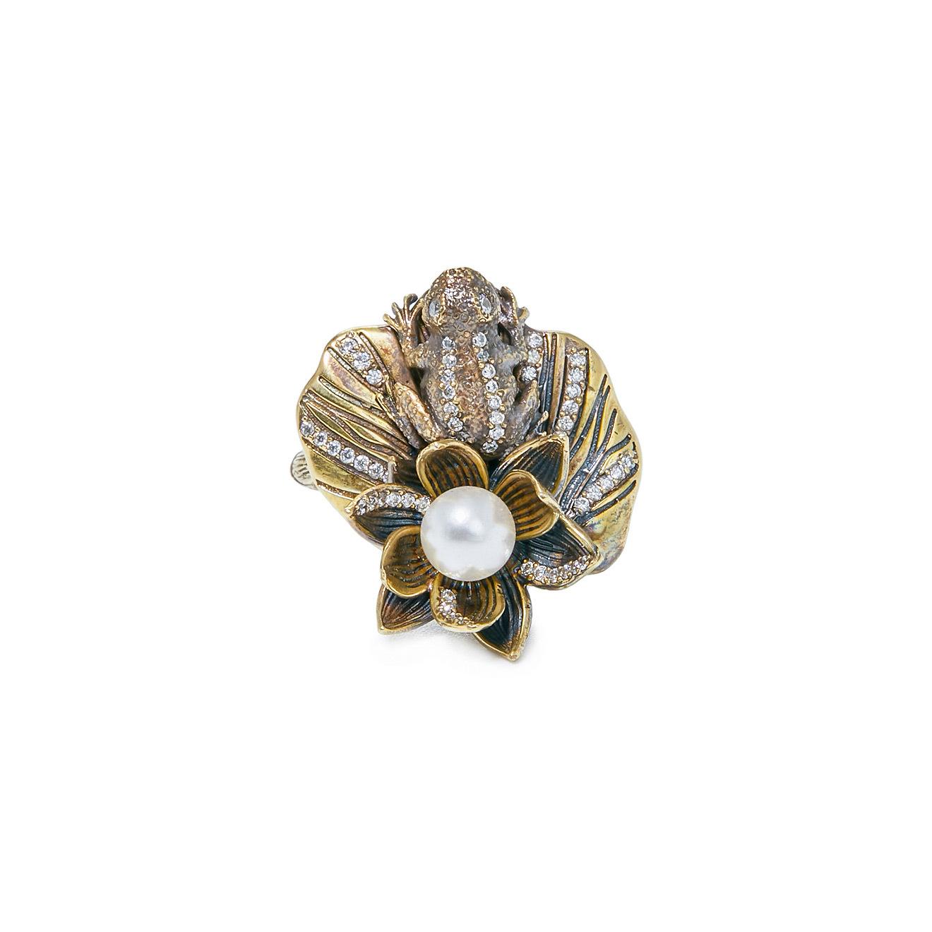 Fiore di Firenze Золотистое кольцо «Лягушка на лотосе» с жемчугом и кристаллами