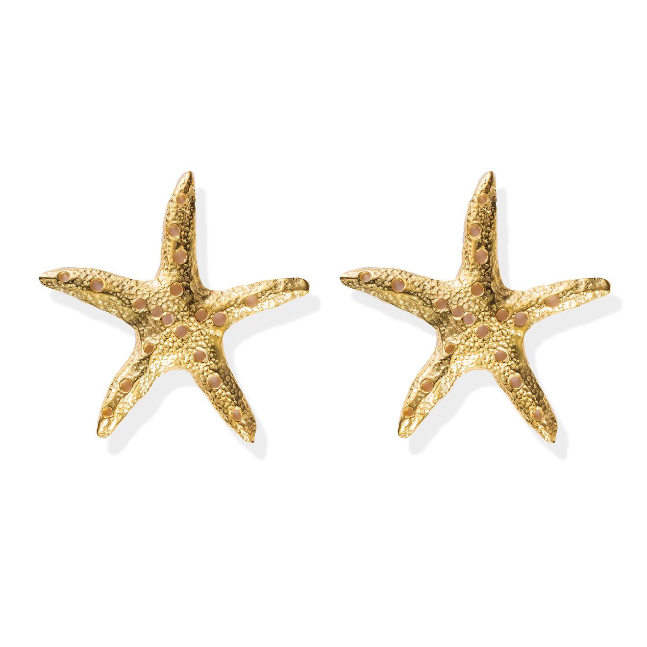 Natia x Lako Позолоченные серьги-морские звёзды