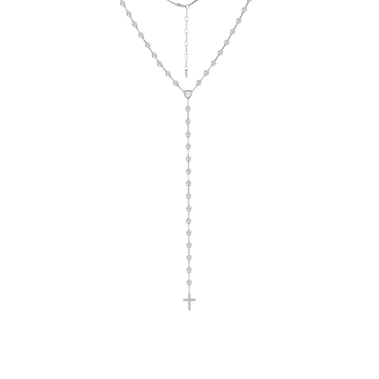 MiEstilo Колье-галстук из серебра с крестом и фианитами
