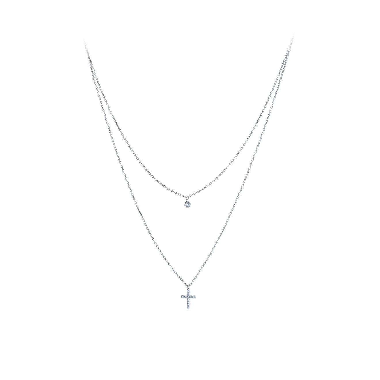 MiEstilo Двойное колье из серебра с крестом и фианитами