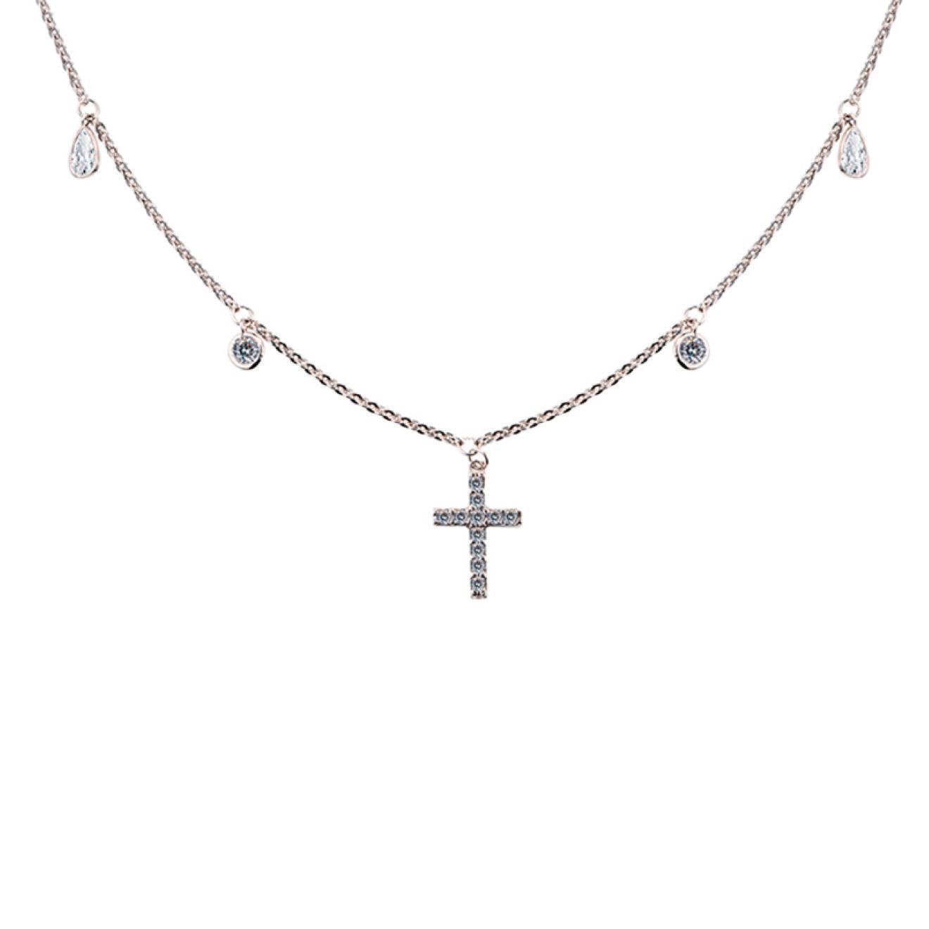 MiEstilo Колье из серебра с крестом и фианитами