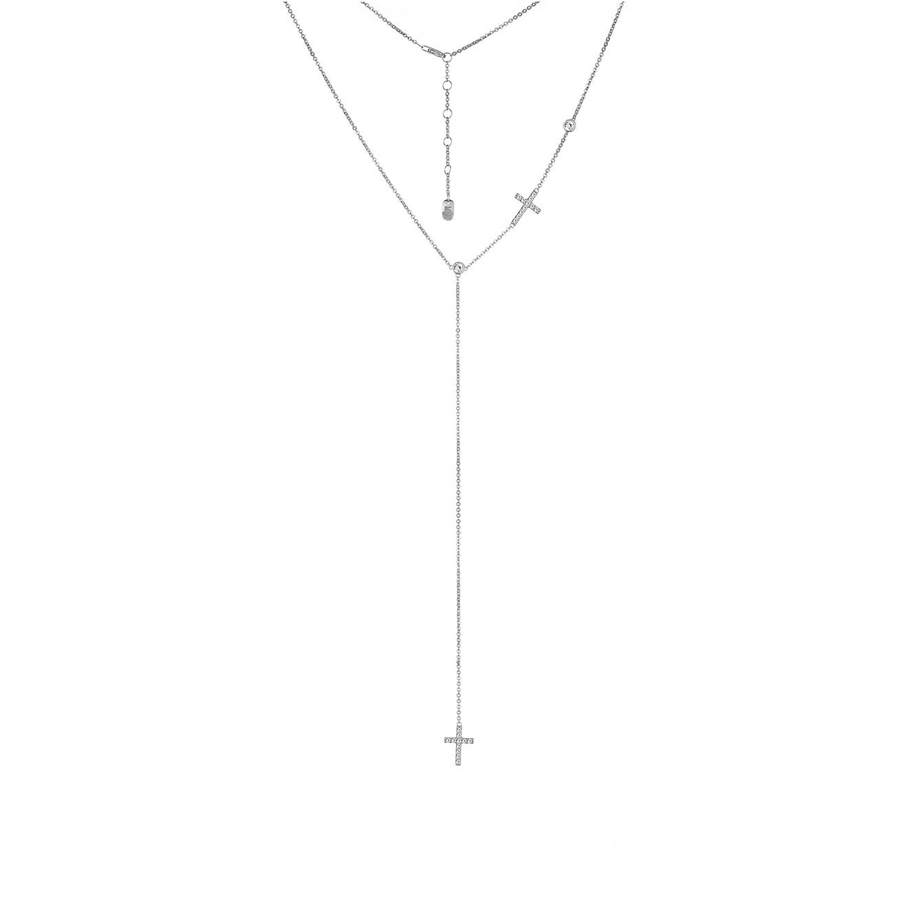 MiEstilo Колье-галстук из серебра с крестами и фианитами