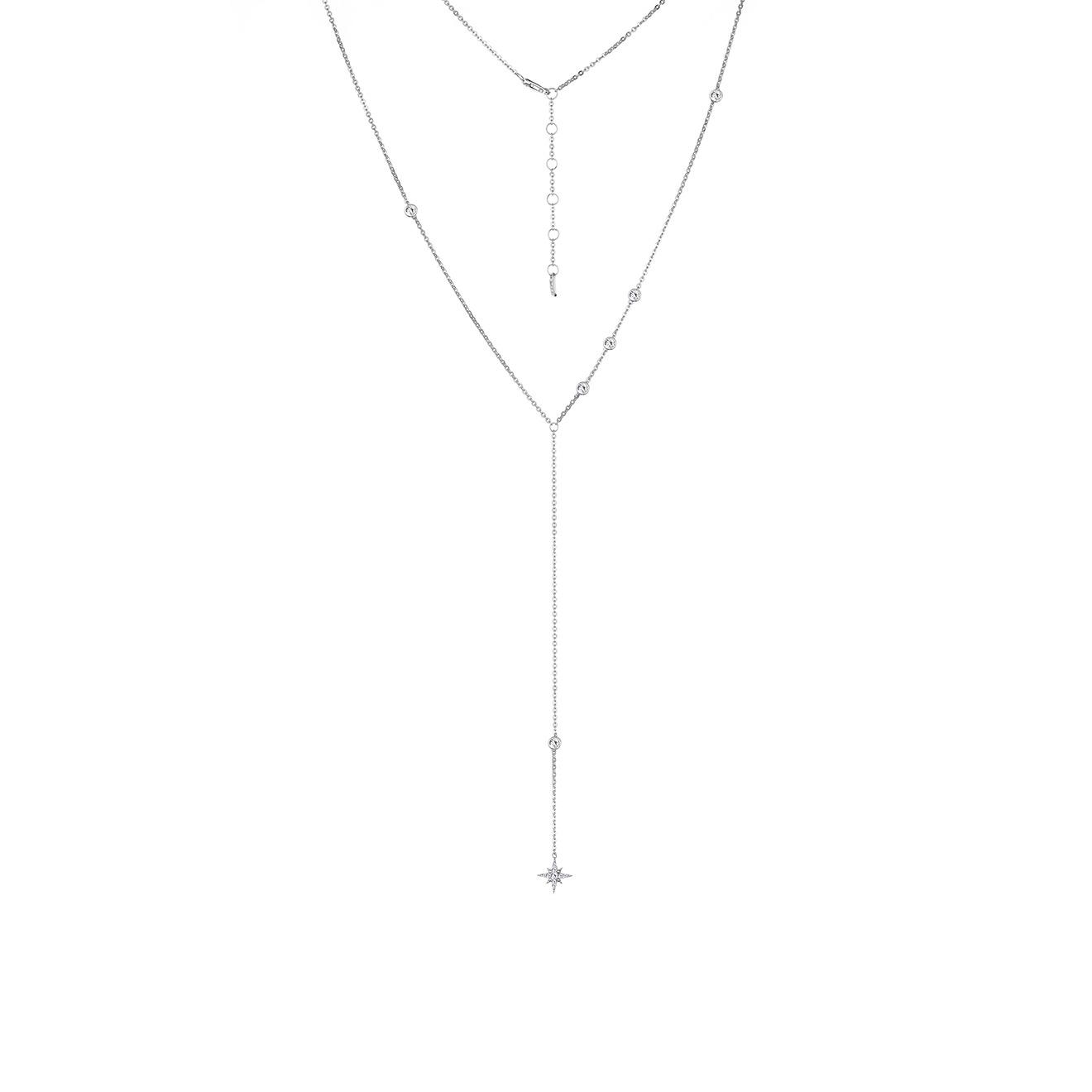 MiEstilo Колье-галстук из серебра с круглыми фианитами и большой звездой