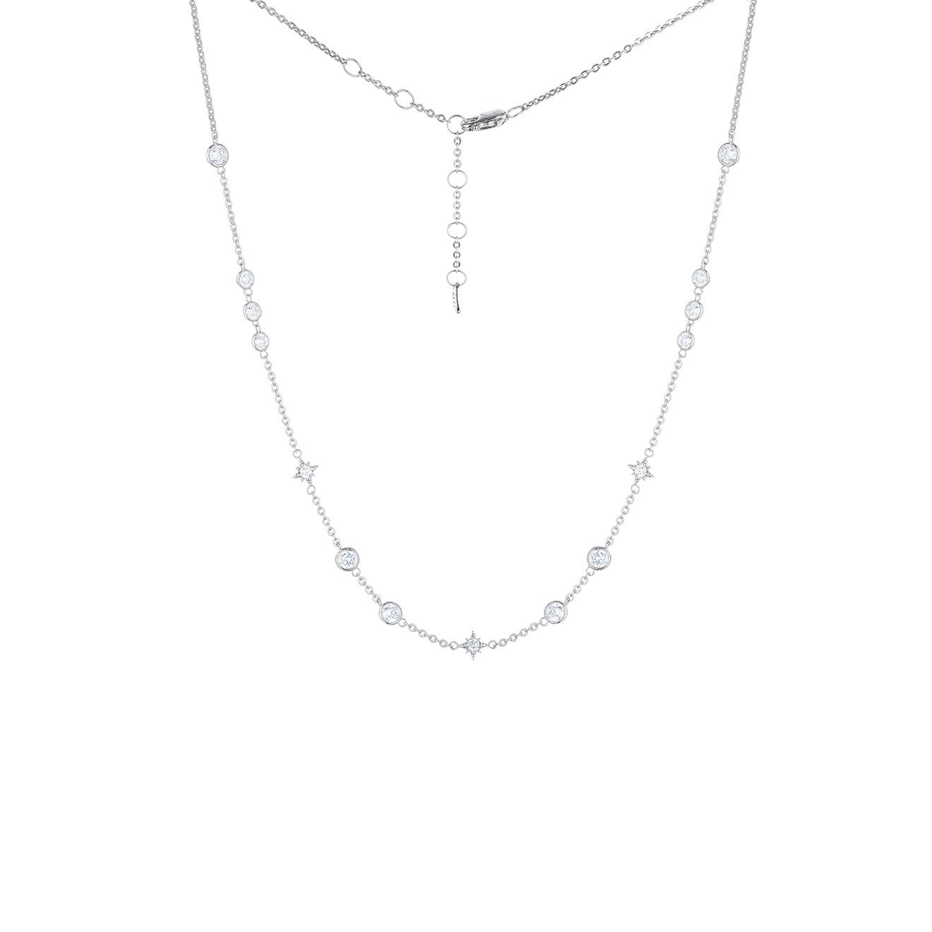 MiEstilo Колье-чокер из серебра со звездами и фианитами