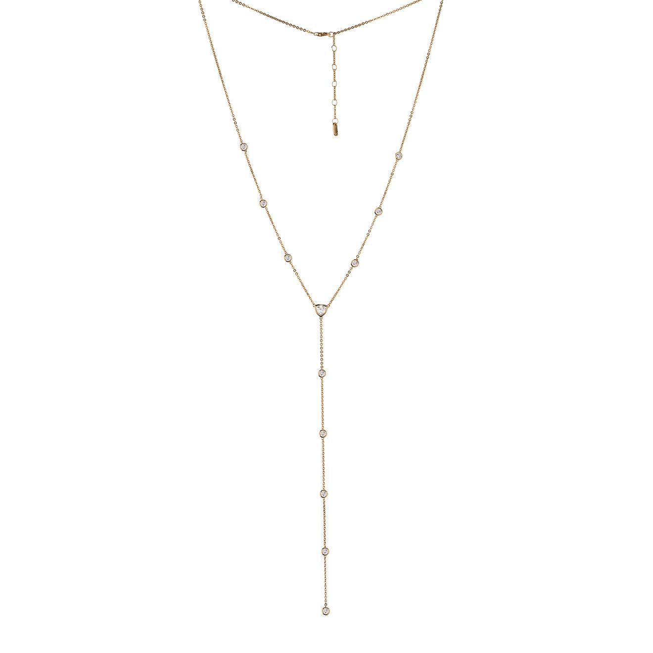 MiEstilo Позолоченное колье-галстук из серебра с фианитами