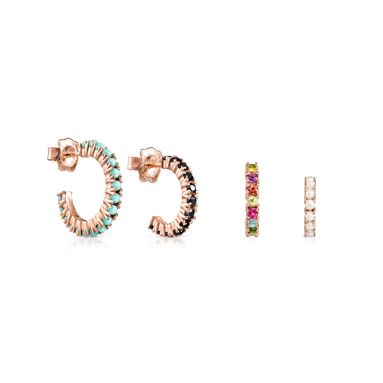 Фото - TOUS Сет серег Straight из серебра с покрытием вермей, жемчугом, рубином, сапфиром и полудрагоценными камнями серьги с полудрагоценными камнями