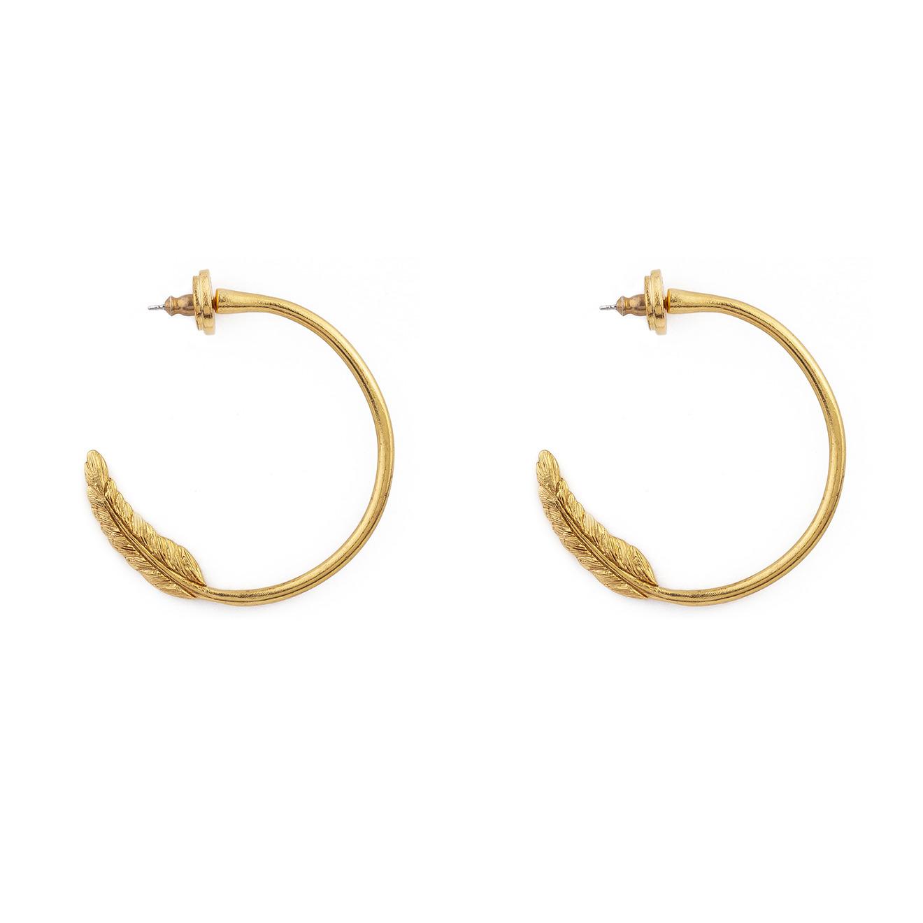 Oscar de la Renta Золотистые серьги-кольца с перьями