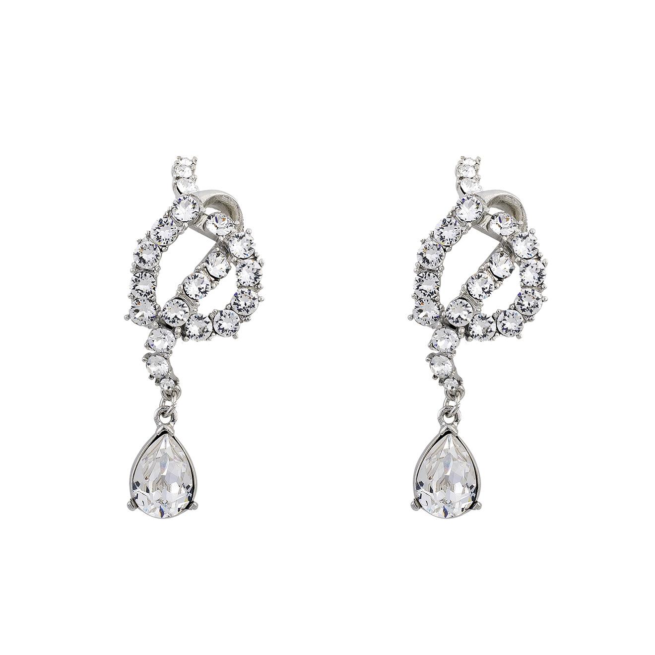Oscar de la Renta Серебристые серьги с кристаллами