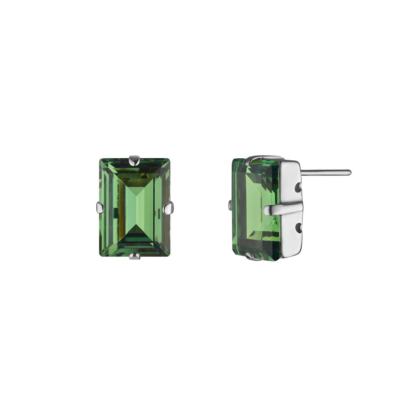 Phenomenal Studio Серебристые серьги с кристаллами Swarovski Step Cut Green