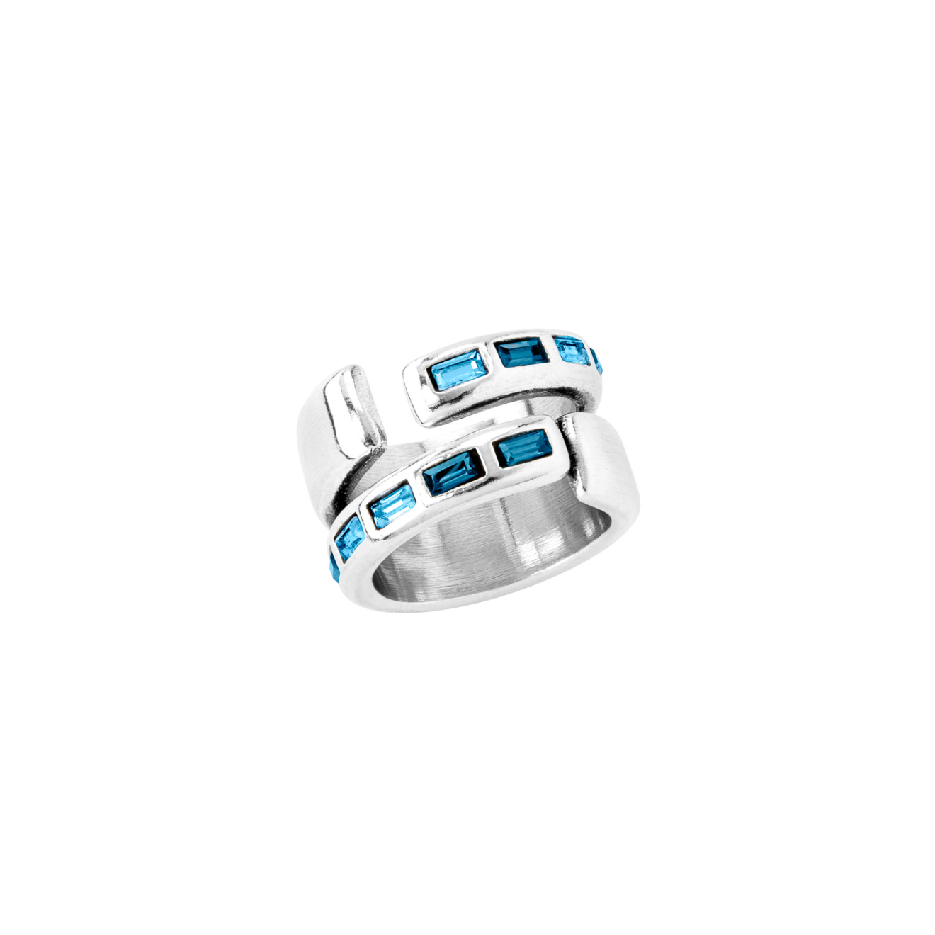 Unode50 Кольцо «Nightbird wrap» с синими кристаллами, покрытое серебром