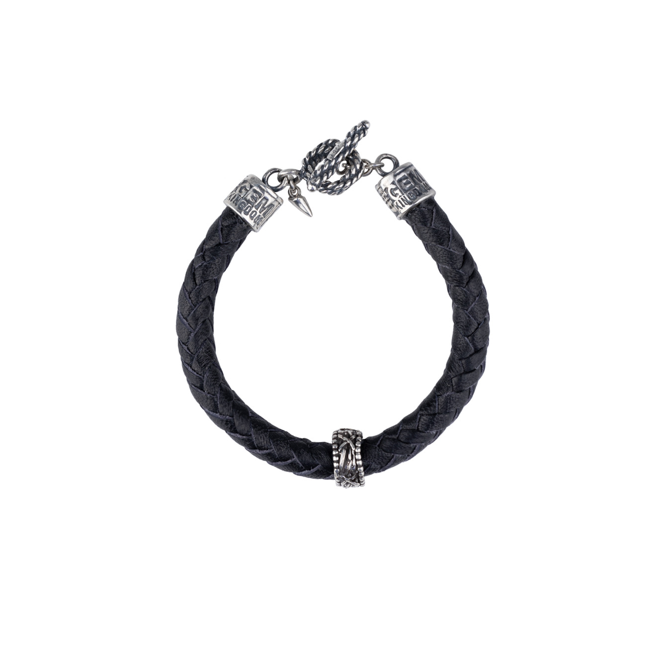 Gem Kingdom Черный браслет из кожи и серебра