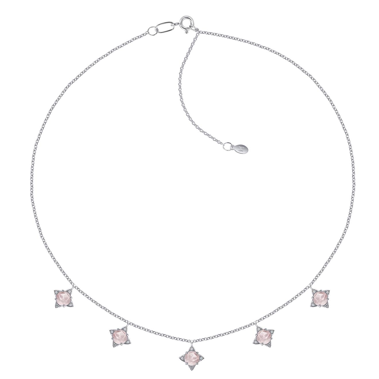 Moonka studio Серебряное колье The Rose с розовым кварцем