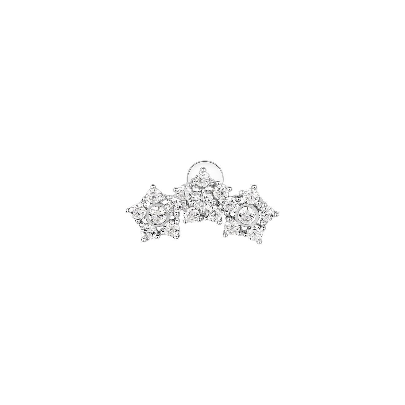 LAV'Z Накрутка из серебра с цветами из кубического циркония, из коллекции Peircing
