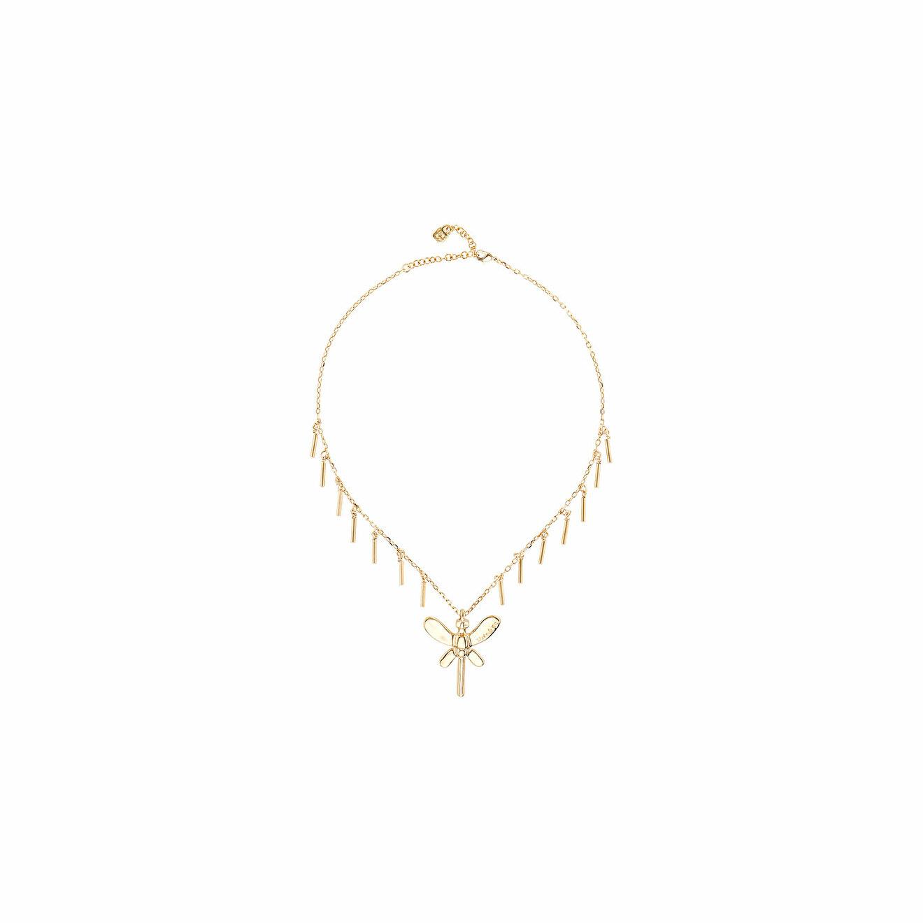 Unode50 Позолоченное короткое ожерелье с бахромой и подвеской-бабочкой Just Be