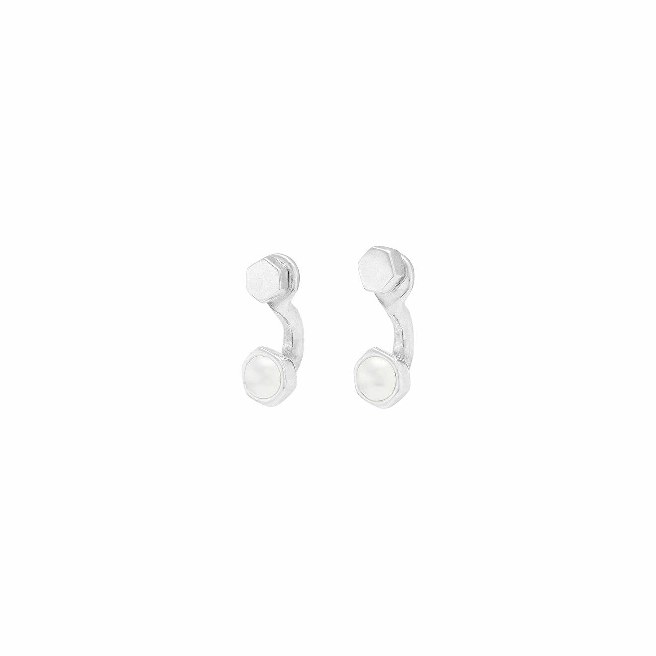 Unode50 Покрытые серебром серьги с синтетическим жемчугом Meant to Be unode50 покрытое серебром короткое ожерелье с подвесками и синтетическим жемчугом moody