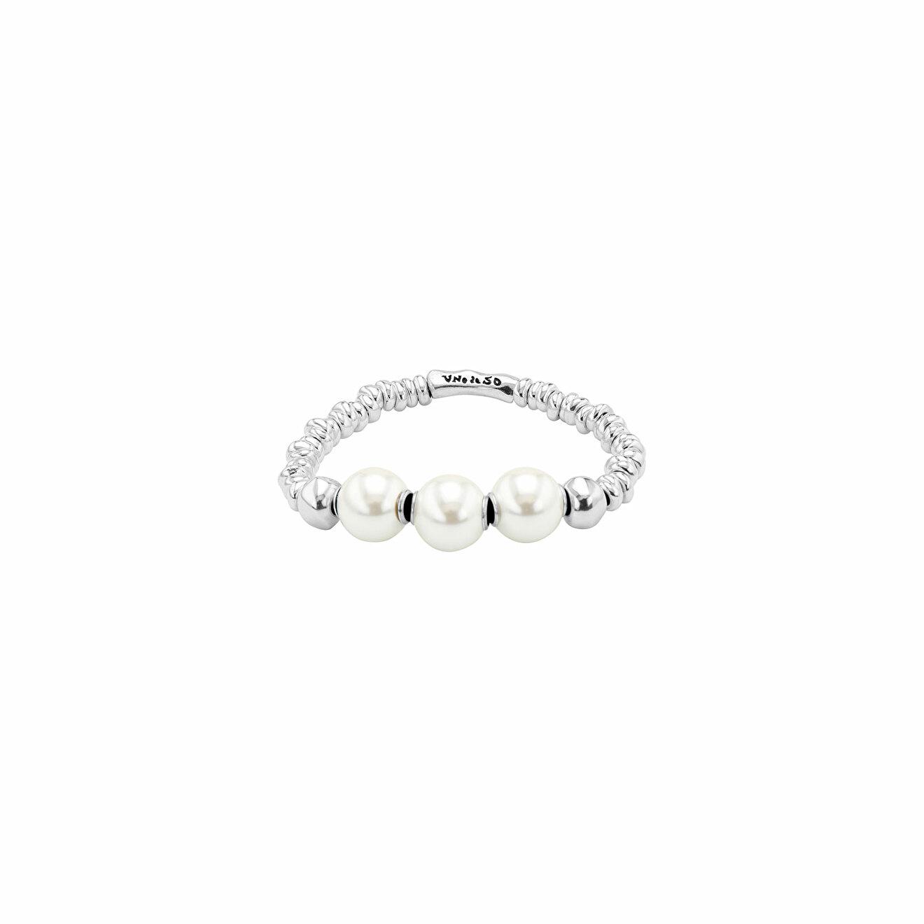 Unode50 Покрытый серебром браслет с синтетическими жемчужинами Superlative