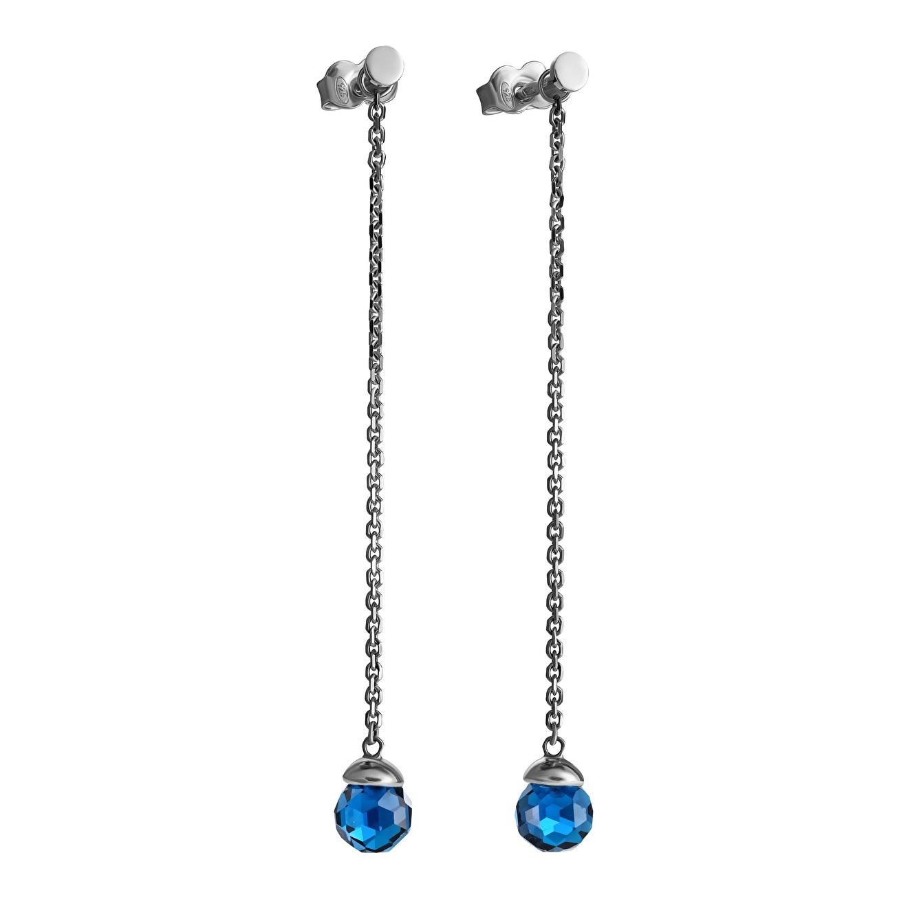серебряные длинные серьги с узорами Aleksandr Sinitsyn Серебряные серьги «Голубика» с синей шпинелью